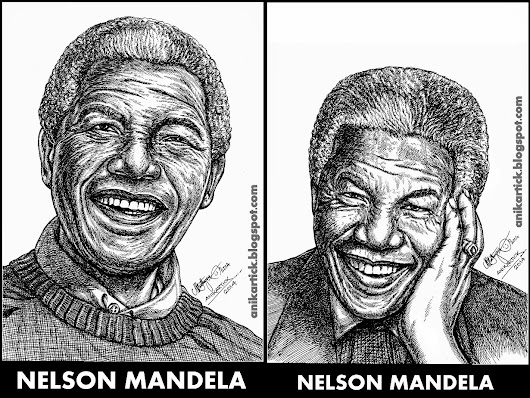 NELSON MANDELA - Art / Drawing / Illustration / Pen drawing / Line Drawing / Sketches / - Artist Anikartick,Chennai,TamilNadu,India