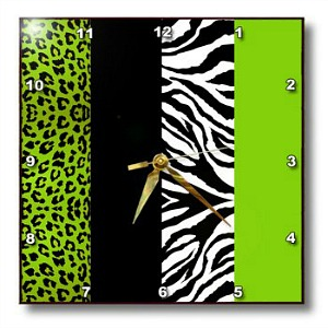 Lime Green Animal Print Wall Clock