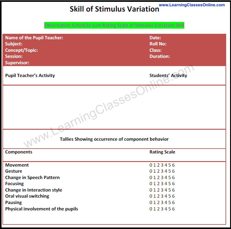 stimulus variation micro teaching lesson plan example and format, stimulus variation skill, how to make lesson plan on stimulus variation skill
