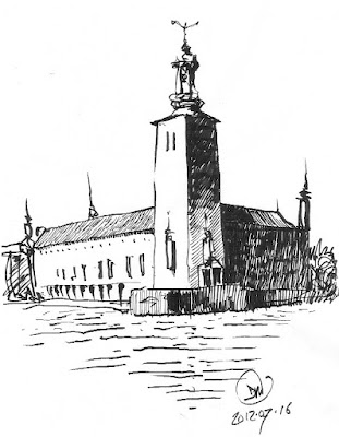 A pen sketch of Stockholm's Town Hall by David Meldrum