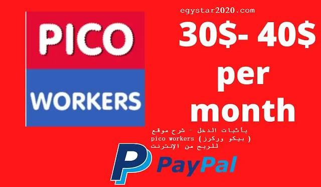 بأثبات الدخل - شرح موقع pico workers ( بيكو وركرز ) للربح من الإنترنت