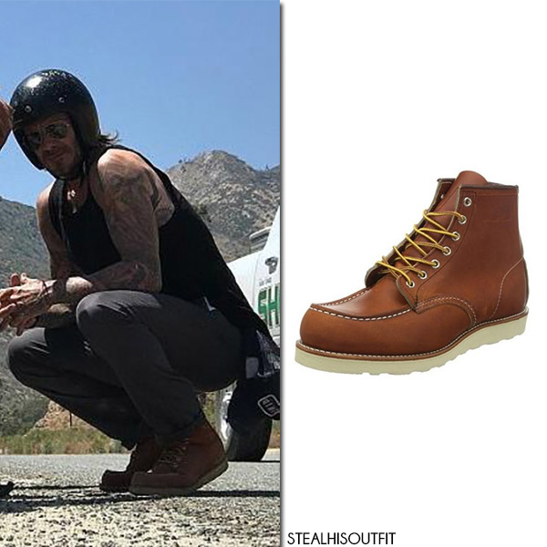 David Beckham in brown leather boots red wing heritage streetstyle july 2017