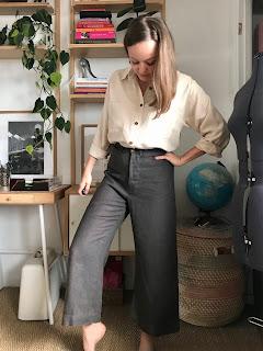 Stitched Silk Cotton Olya Shirt and Linen Persephone Pants