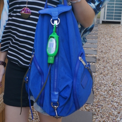 black stripe tank with Rebecca Minkoff Julian nylon backpack in bright blue | awayfromtheblue