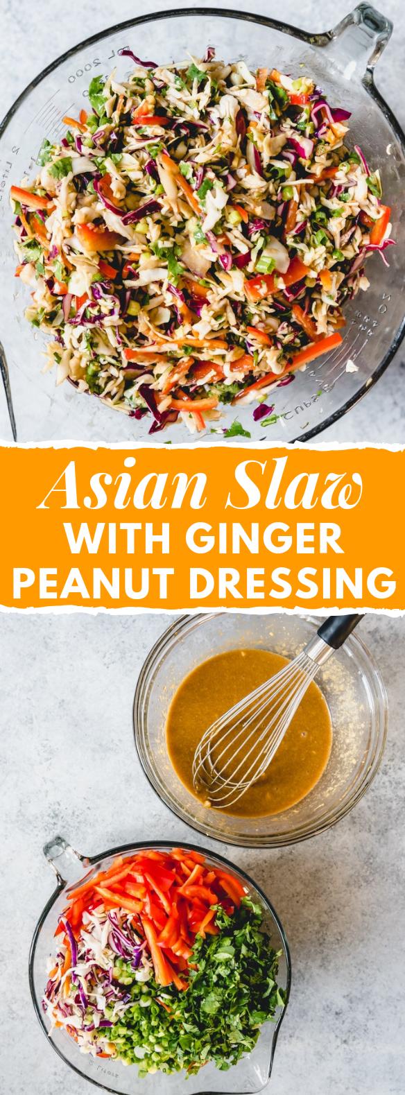 ASIAN SLAW WITH GINGER PEANUT DRESSING #salad #vegetarian