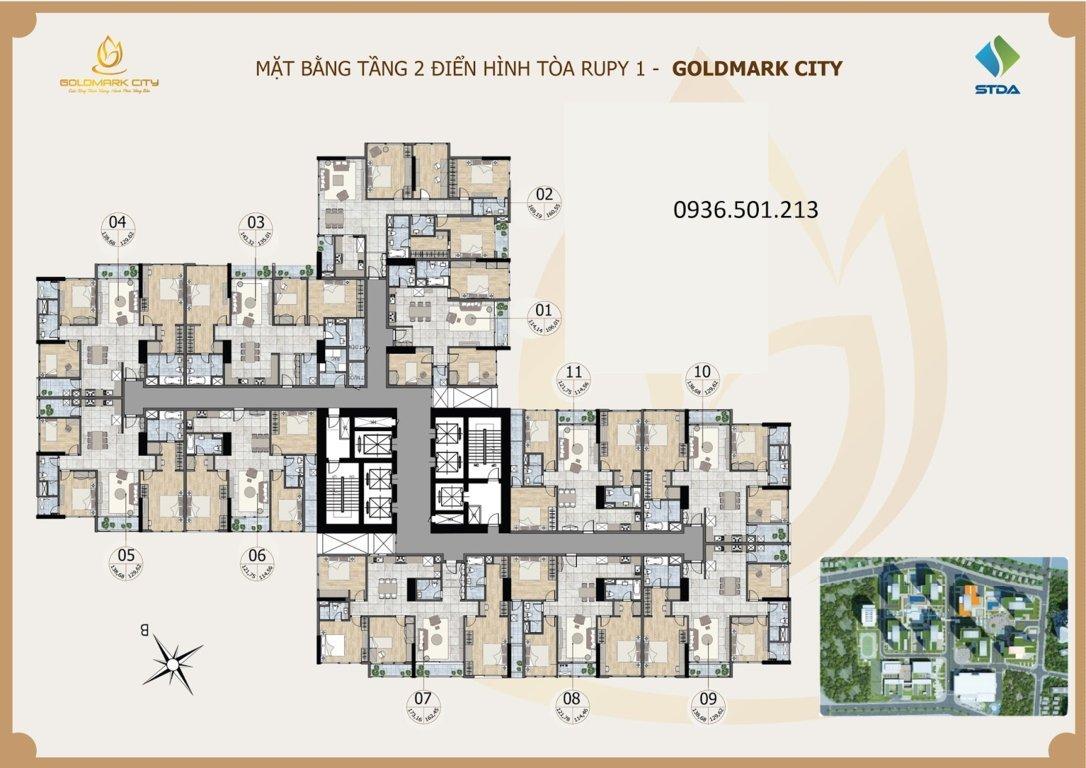 Mặt bằng Ruby 1 dự án Goldmark City