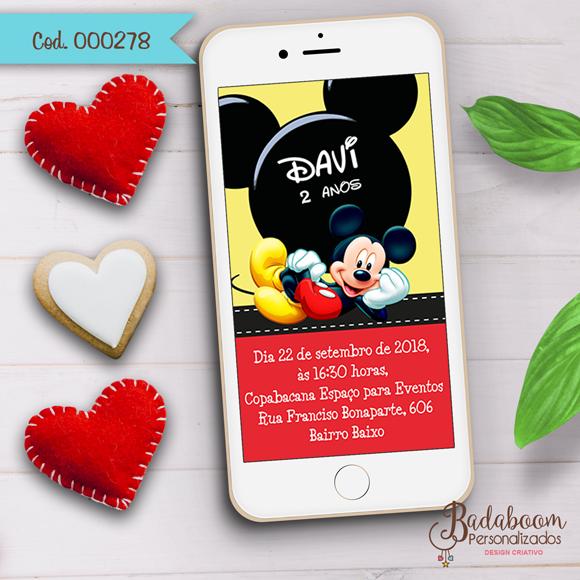 Mickey, convite, digital, whatsapp, arte digital, arte personalizada, festa infantil