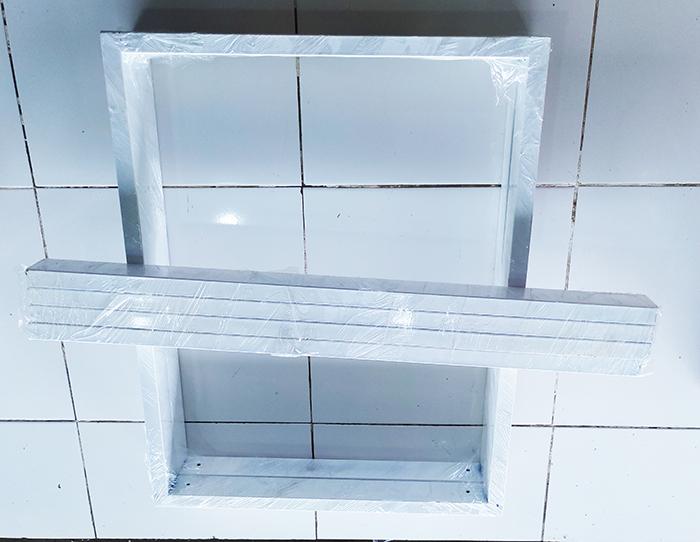 Chân bàn sắt hình chữ nhật màu trắng (2 thanh ngang liên kết) sơn tĩnh điện rất chắc chắn