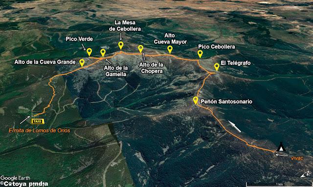 Mapa de la ruta señalizada por la Sierra de Cebollera hasta la Ermita de Lomos de Orios