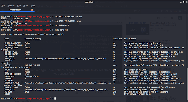 Metasploit framework tomcat scanner options