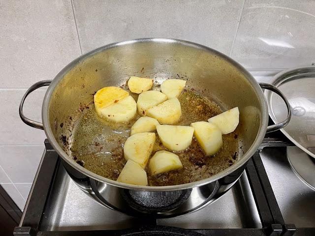 Pan fried the potatoes