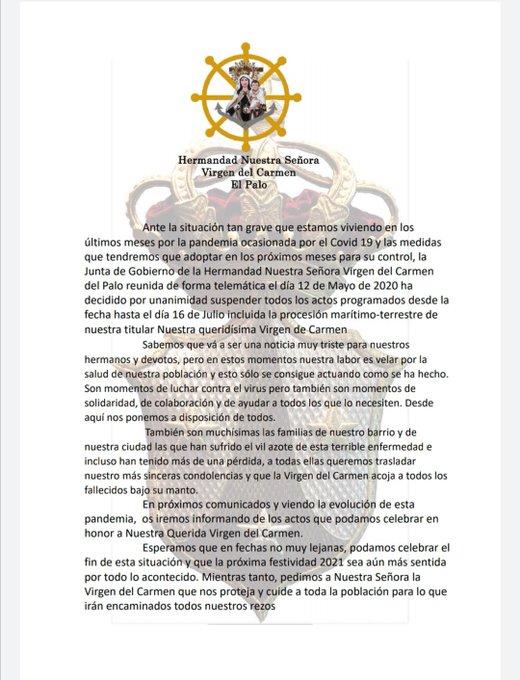The Virgen Del Carmen del Palo Brotherhood of Malaga suspends all its acts