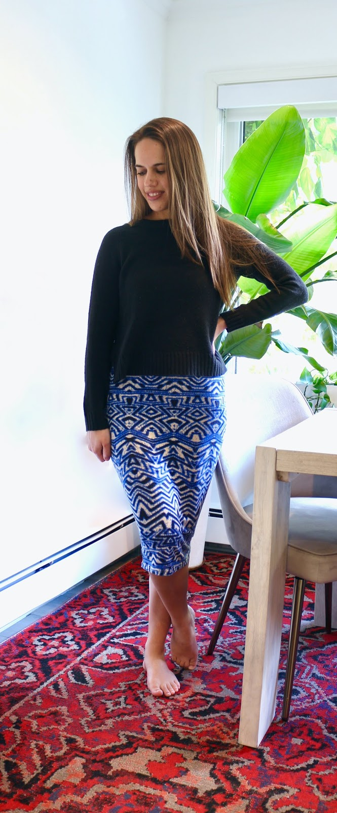 Jules in Flats - Knit Midi Skirt with Cropped Sweater (Easy Work from Home Outfit)
