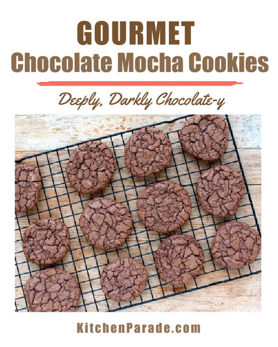 Gourmet Chocolate Mocha Cookies ♥ KitchenParade.com, decadently chocolate-y, laced with espresso, almost like a brownie cookie or a fudge cookie. Wonderful with a glass of cold milk.