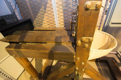 The original guillotine that was used to decapitate Hans Vollenweider in 1940. It is now on display in the Lucerne History Museum.
