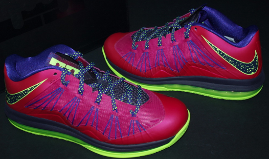 brand new 323b0 cfda4 This Nike Air Max LeBron X Low comes in a raspberry red, blueprint, court  purple and flash lime colorway. Nicknamed the