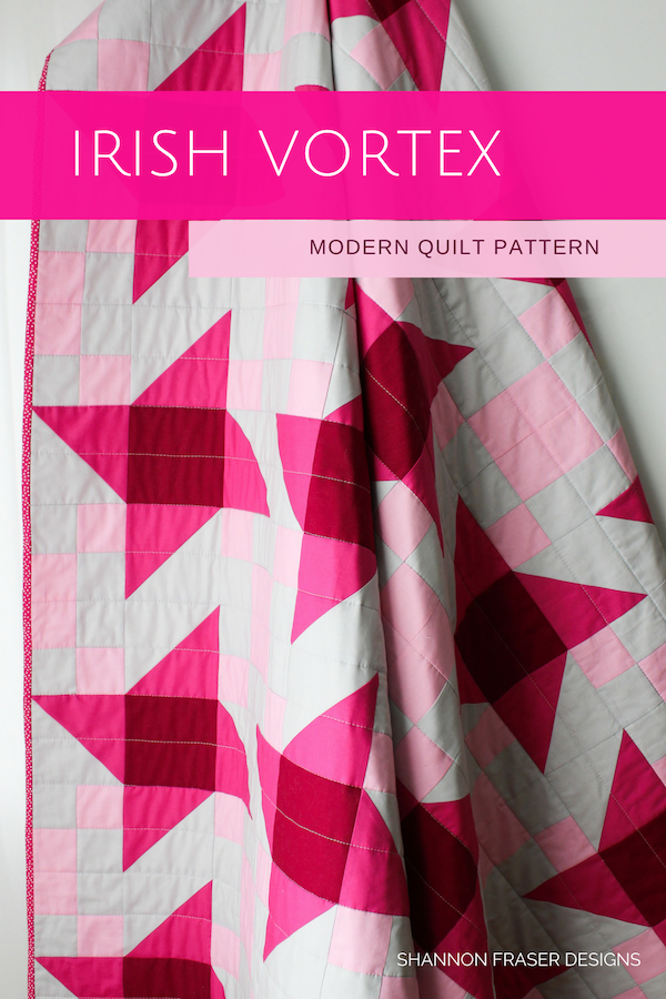 Irish Vortex Quilt Pattern in pink ombre | Shannon Fraser Designs