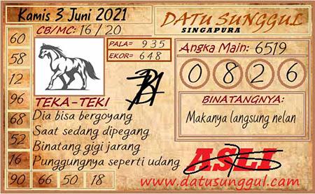 Prediksi Datu Sunggal Singapura Kamis 03 Juni 2021