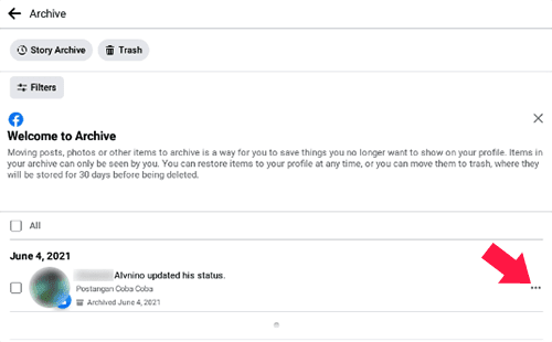 Cara Mengembalikan Postingan FB Yang Terhapus Dari Arsip Lewat HP