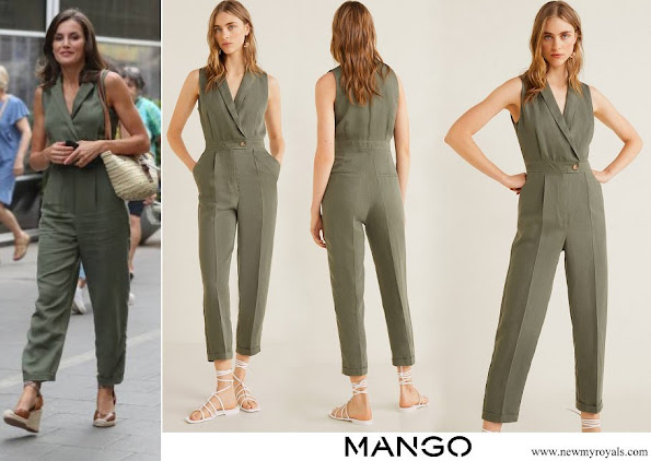 Queen Letizia wore Mango Long linen-blend jumpsuit