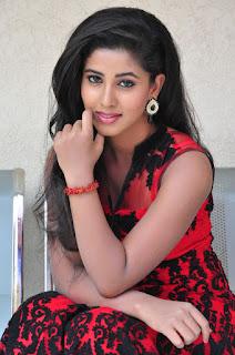 Pavani in Beautiful Sleelvess Transparent Dark Red and Black Anarkali Dress at Eluka Mazaka Press Meet Event