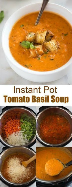 Instant Pot Tomato Basil Soup with Parmesan