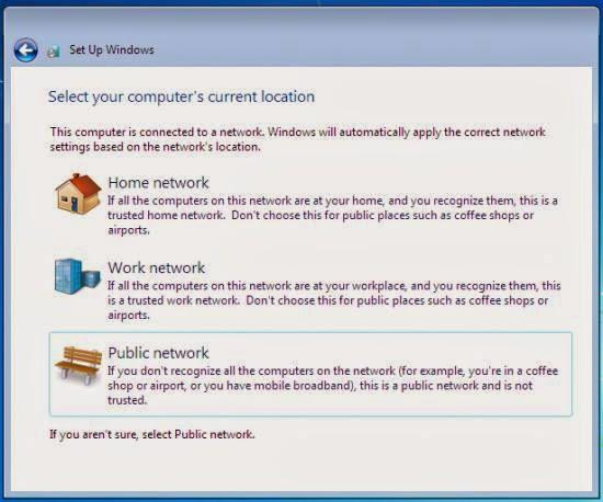Instalare windows 7 - alegerea retelei