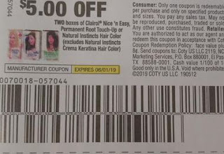 """$5.00/2  Clairol Nice 'n Easy, Permanent Root Touch-Up or Natural Instincts Hair Color Boxes Coupon from """"SMART SOURCE"""" insert week of 5/12."""