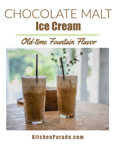 Chocolate Malt Ice Cream ♥ KitchenParade.com. Old-time fountain flavor made at home.