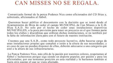 La afición del CD Ibiza protesta tras la cesión de Can Misses en favor de la UD Ibiza