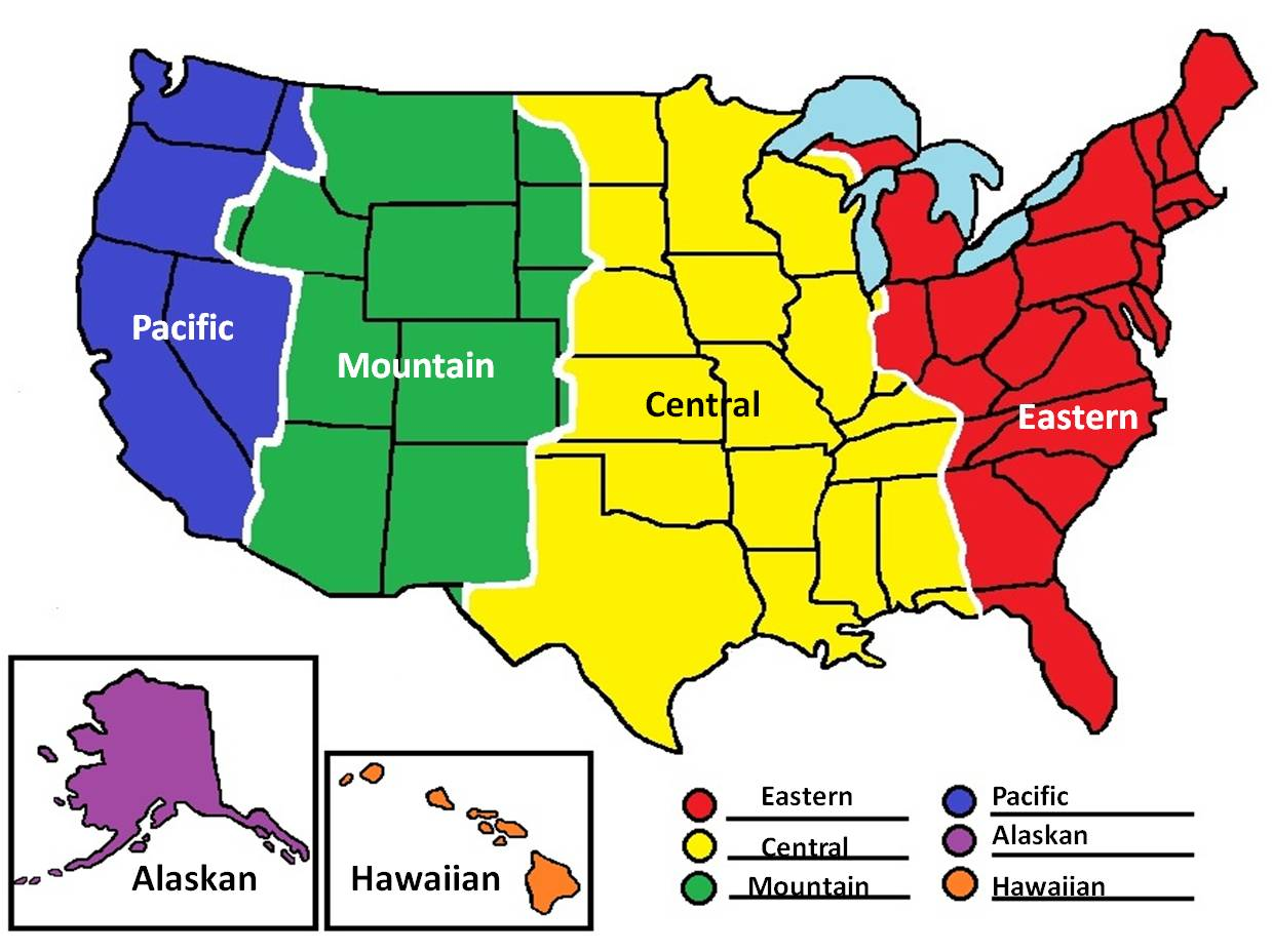 Time Zones in The us abbreviations Of America map