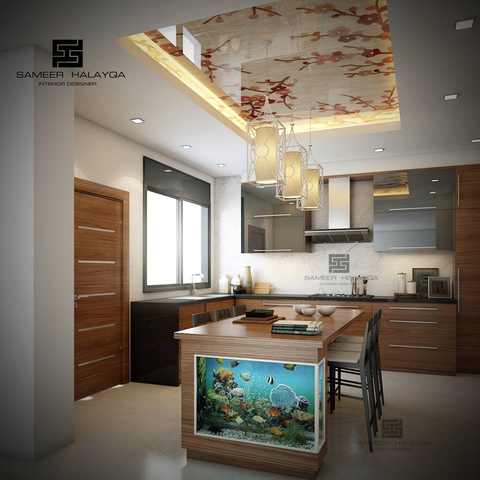 25 Gorgeous Kitchens Designs With Gypsum False Ceiling Lights