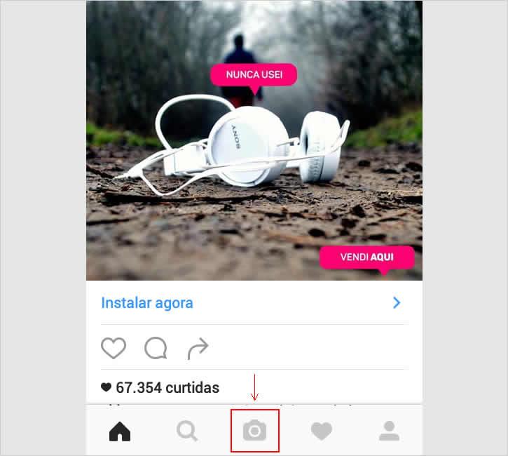 Post como rascunho instragram - ícone da câmera