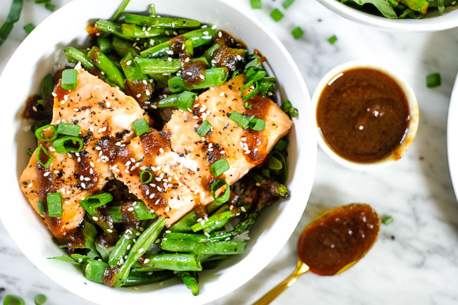 Grilled Teriyaki Salmon Bowls (Paleo + Whole30) #dinner #lunchsalmon