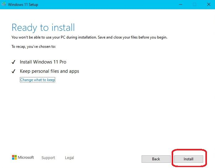 Windows 11 Setup Ready to Install