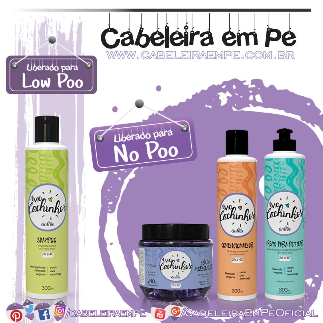 Shampoo (Low Poo), Condicionador, Creme para Pentear e Gelatina (liberados para Low Poo) - Griffus