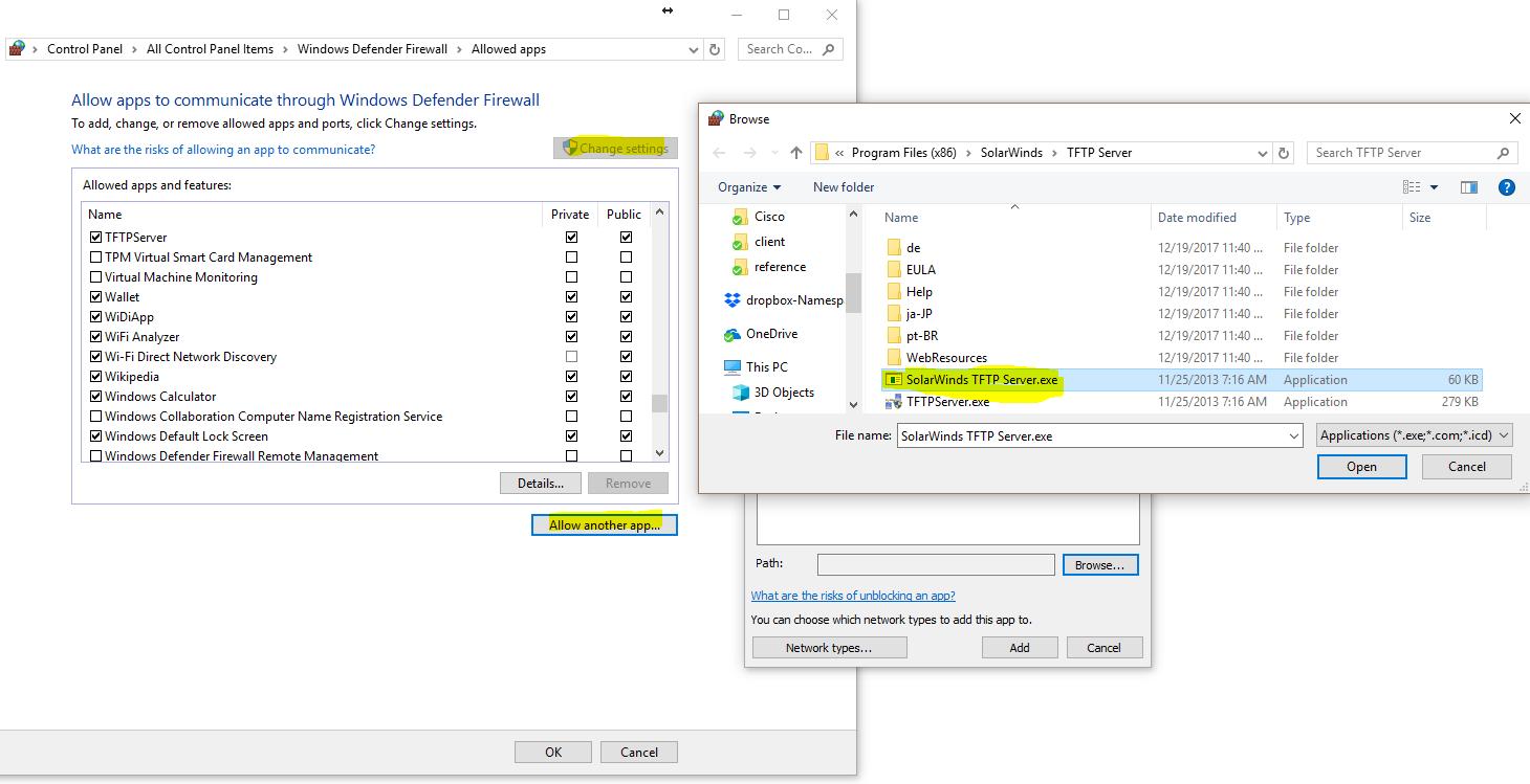 enable tftp windows 10 firewall
