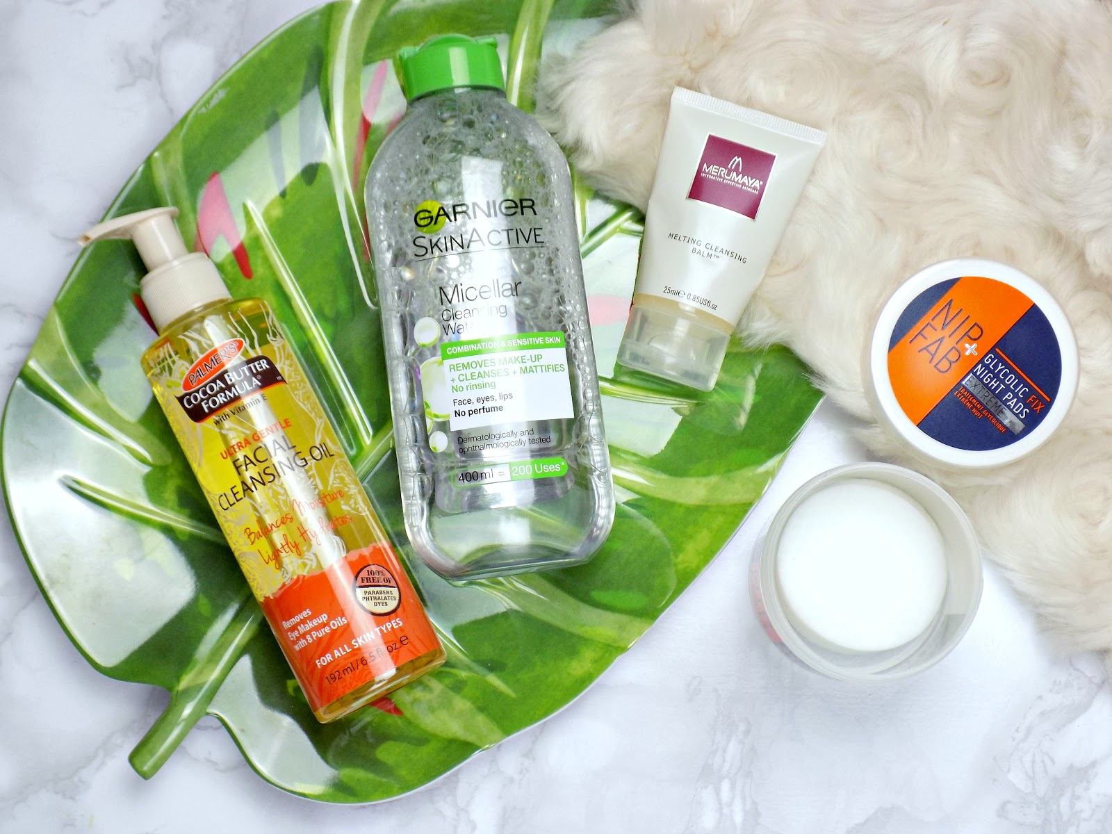 Night time cleansers, Palmer's Cleansing Facial Oil, Merumaya Melting Cleansing Blam
