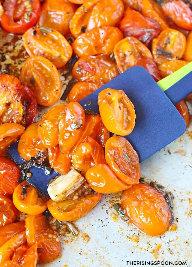 Roasted Cherry Tomatoes with Herbs & Garlic (Easy Side Dish Recipe)