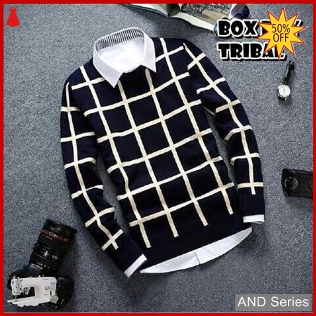 AND195 Sweater Pria Box Boy Putih Biru BMGShop