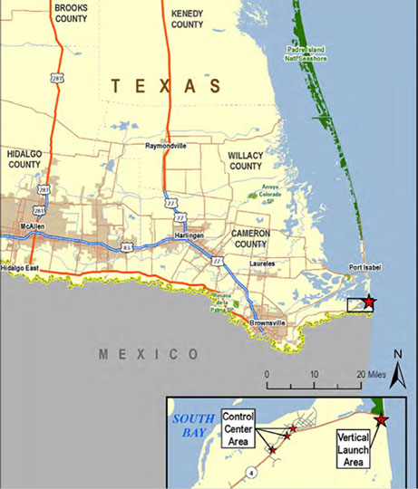 SpaceX space port launch site near Brownsville, TX (Source: Wikipedia)