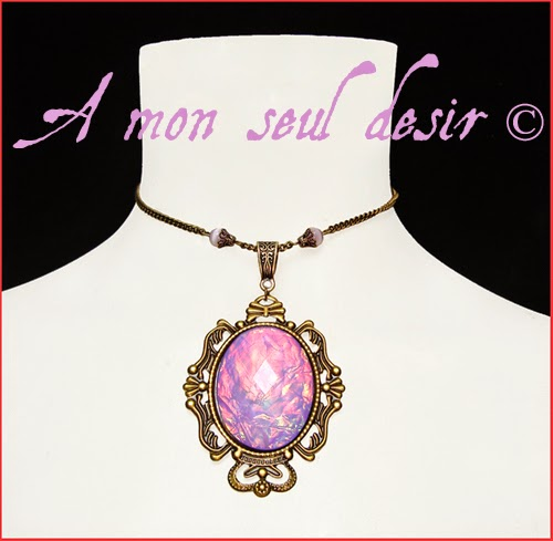 Collier féerique elfique magie rose lilas parme violet fée elfe magical elven fairy pink purple lilac magic necklace FairyDust
