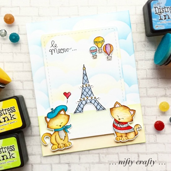 Le Meow Card with February Guest Designer Valliam | Newton Dreams of Paris Stamp Set by Newton's Nook Designs #newtonsnook #handmade