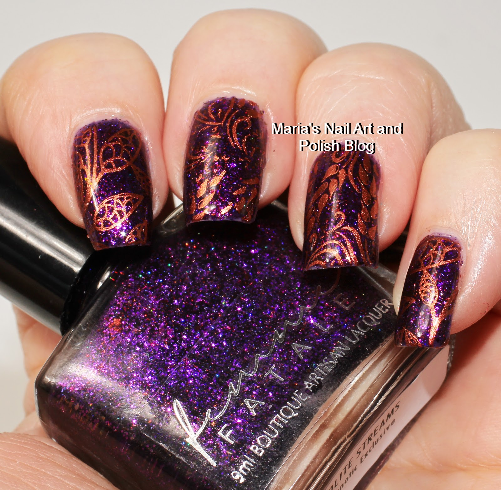 Marias nail art and polish blog the base is femme fatale iolite streams stamped with hit the bottle copper haired girl plate cici sisi jumbo series 5 plate 28 stamper fab ur nails prinsesfo Gallery