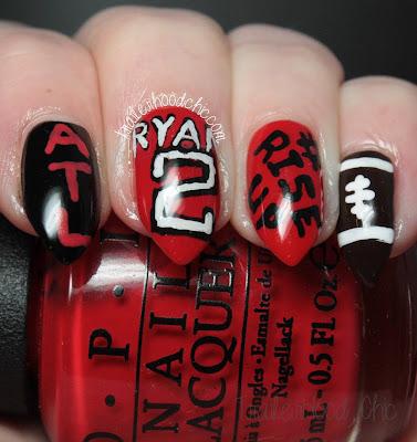 atlanta falcons matt ryan rise up freehand nail art