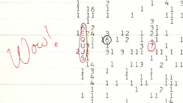"A scan of a color copy of the original computer printout, taken several years after the 1977 arrival of the ""Wow!"" signal. It was a strong narrowband radio signal detected by Jerry R. Ehman on August 15, 1977, while he was working on a SETI project at the Big Ear radio telescope of The Ohio State University. Image Credit: The Ohio State University Radio Observatory and the North American AstroPhysical Observatory (NAAPO)."