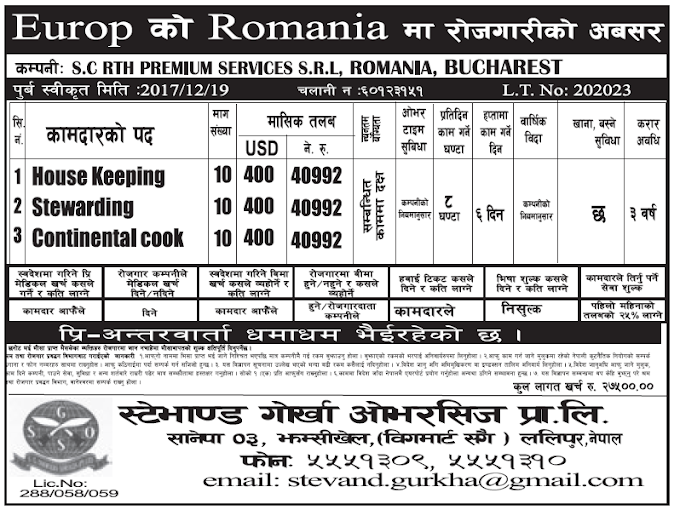 Jobs in Romania for Nepali, Salary Rs 40,992