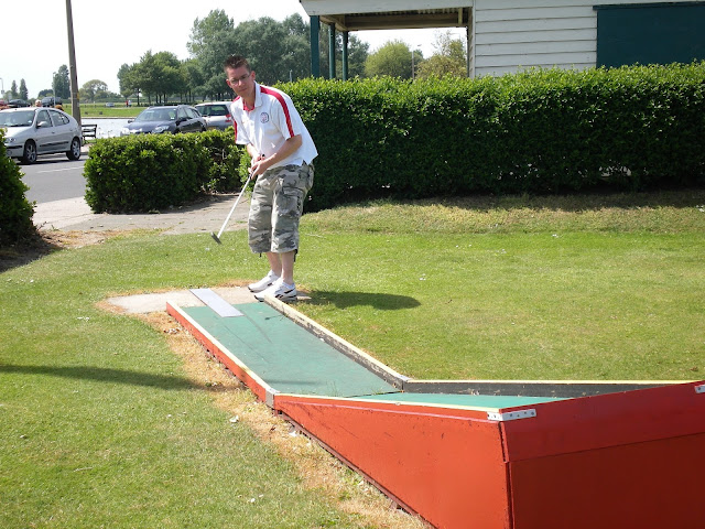 Playing the Crazy Golf course at Low Road in Dovercourt