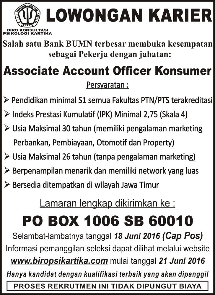Lowongan Kerja Account Officer Konsumer Bank BRI