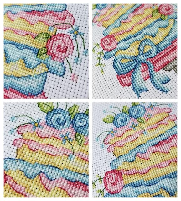 Wonky Layer Cake Cross Stitch Up Close